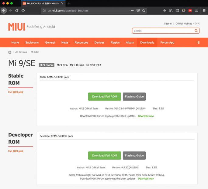 Auf en.miui.com stehen die MIUI-Varianten zum Download zur Verfügung (Bild: ZDNet.de)
