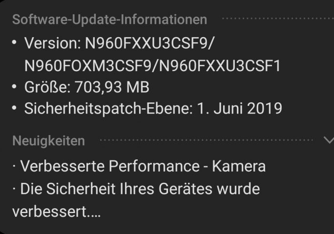 Galaxy Note 9: Juni-Patch (Bild: ZDNet.de)