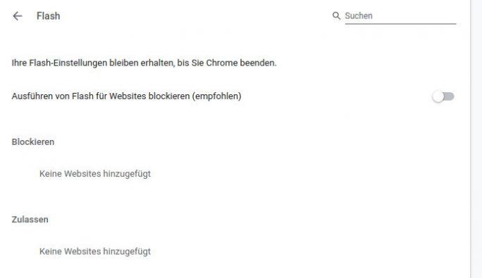 Chrome 76: Flash wird standardmäßig blockiert (Screenshot: ZDNet.de)