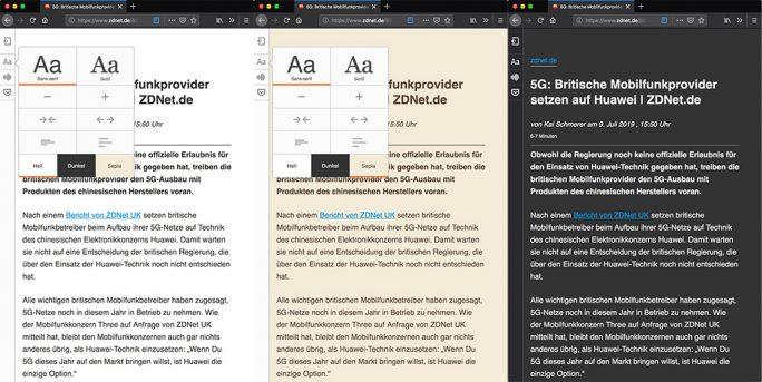 Firefox 68: Dark-Mode für Lesemodus (Screenshot: ZDNet.de)