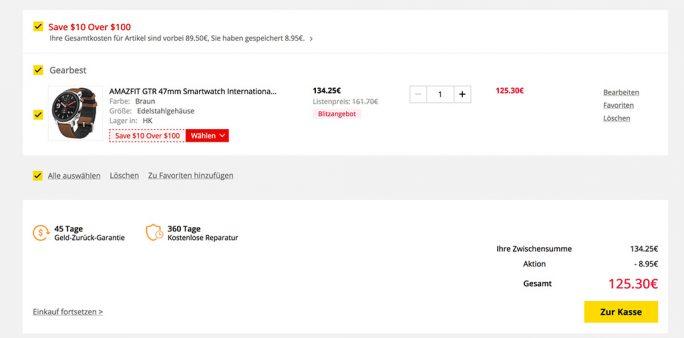 Gearbest: Amazfit GTR für 125,30 Euro (Nur am 24.7) (Screenshot: ZDNet.de)