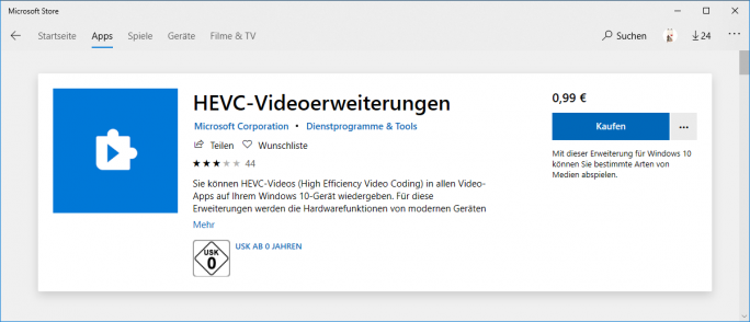 HEVC-Video-Erweiterung (Screenshot: ZDNet.de)