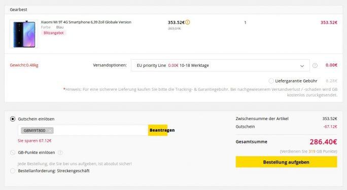 Mi 9T mit 128 GByte für 286,40 Euro (Screenshot: ZDNet.de)
