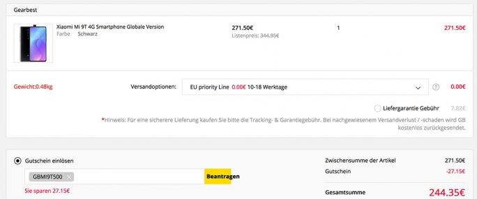 Mi 9T in Schwarz mit 64 GByte für 244,35 Euro (Screenshot: ZDNet.de)