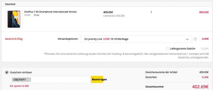 OnePlus 7 für 402 Euro (Screenshot: ZDNet.de)