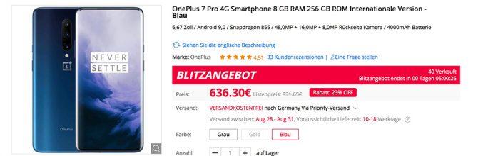 OnePlus 7 Pro für 636 Euro (Screenshot: ZDNet.de)