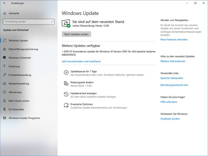 Windows 10 1903: Update KB4505903 (Bild: ZDNet.de)