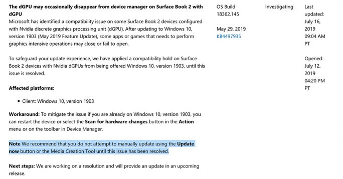 Windows 1903: Update-Status (Screenshot: ZDNet.de)