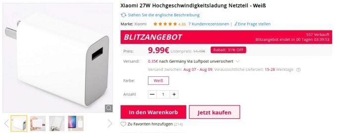 Gearbest verkauf das Xiaomi-27-Watt-Netzteil für knapp 10 Euro (Bild: ZDNet.de)