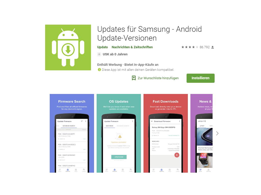 Gefälschte Samsung-Update-App im Play Store täuscht mehr als