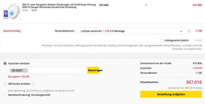 Saugroboter 360 S7 aus EU-Warenlager für 367,01 Euro (Screenshot: ZDNet.de)