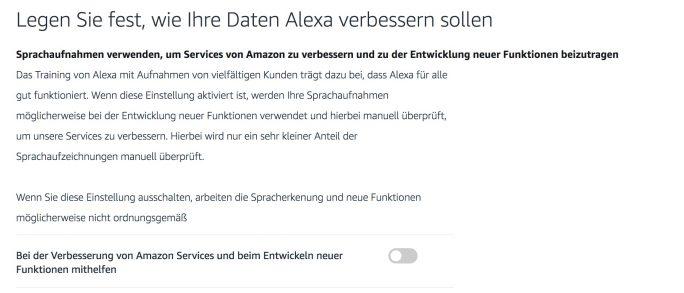 Alexa: Datenschutzeinstellungen (Screenshot: ZDNet.de)