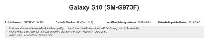 Galaxy S10: September-Update bringe eine Reihe neuer Funktionen (Screenshot: ZDNet.de)