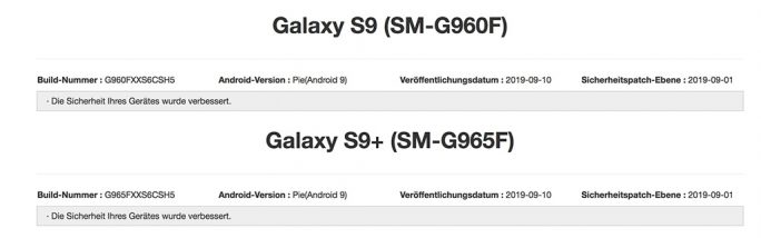 Galaxy S9: September-2019-Update (Screenshot: ZDNet.de)