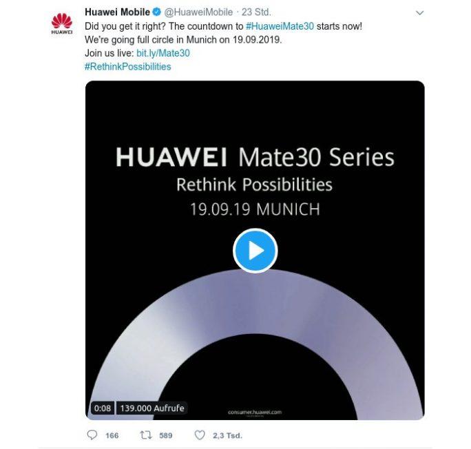 Huawei kündigt Vorstellung Mate-30-Serie für den 19. September in München an (Screenshot: ZDNet.de)