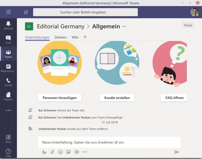 MS Teams für Linux (Screenshot: ZDNet.de)