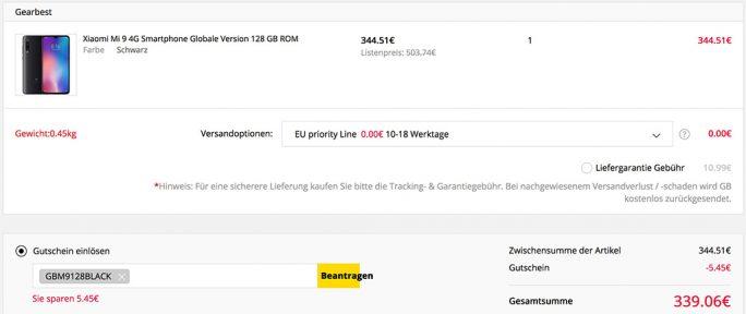Mi 9 128 GByte für 339 Euro (Screenshot ZDNet.de)
