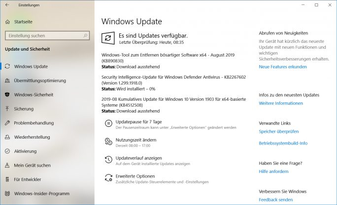 Microsoft Patch-Day August 2019  (Screenshot: ZDNet.de)