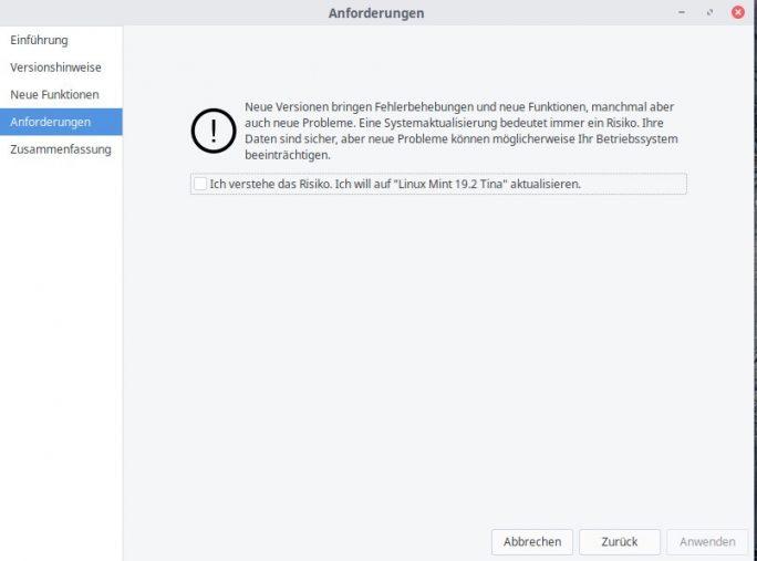 Mint-Update-Assistent: Hinweis (Bild: ZDNet.de)