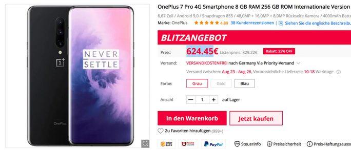 OnePlus 7 Pro für 624,45 Euro (Screenshot: ZDNet.de)