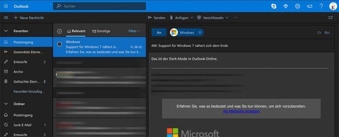 Outlook-Online mit Dark Mode (Screenshot: ZDNet.de)