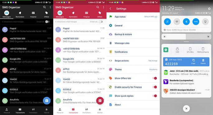 Amdroid-App von Microsoft: SMS Organizer (Screenshot: ZDNet.de)