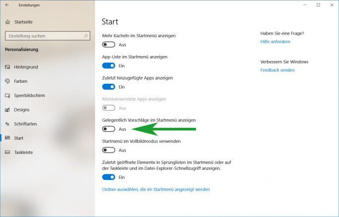 App-Vorschläge ausschalten (Screenshot: ZDNet.de)