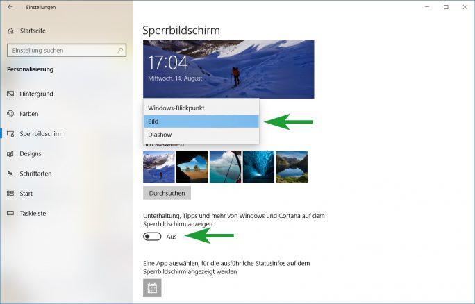 Werbung im Sperrbildschirm ausschalten (Bild: ZDNet.de)