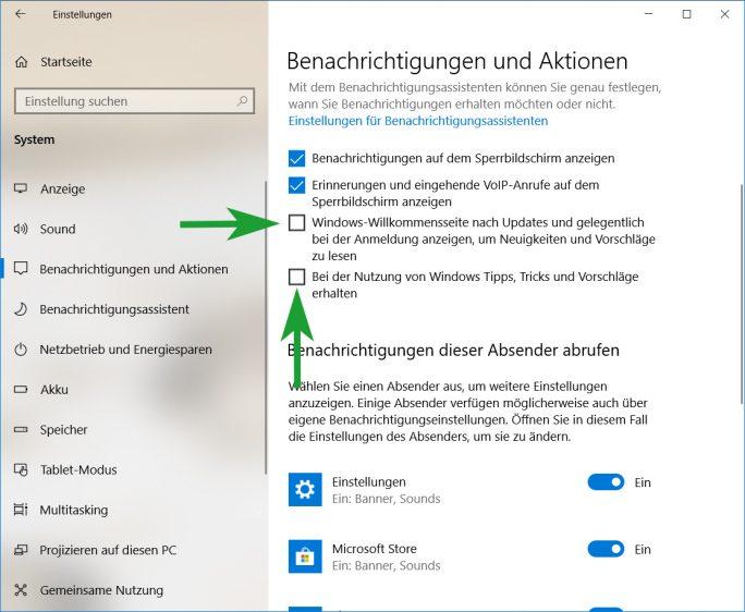 Werbung in Taskleiste und Info-Center ausschalten (Bild: ZDNet.de)