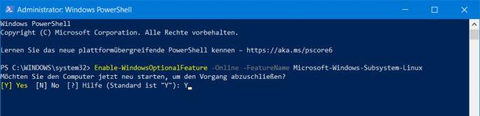 "WSL PowerShell: ""Enable-WindowsOptionalFeature -Online -FeatureName Microsoft-Windows-Subsystem-Linux"" (Screenshot: ZDNet.de)"