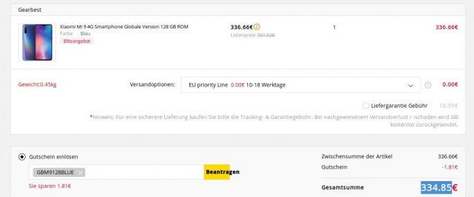 Xiaomi Mi 9 mit 128 GByte für 335 Euro (Screenshot: ZDNet.de)