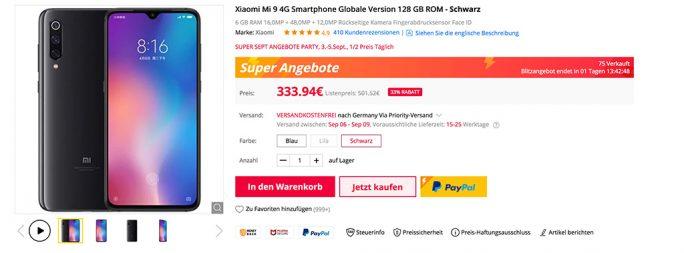 Xiaomi Mi 9 mit 128 GByte für 334 Euro (Screenshot: ZDNet.de)