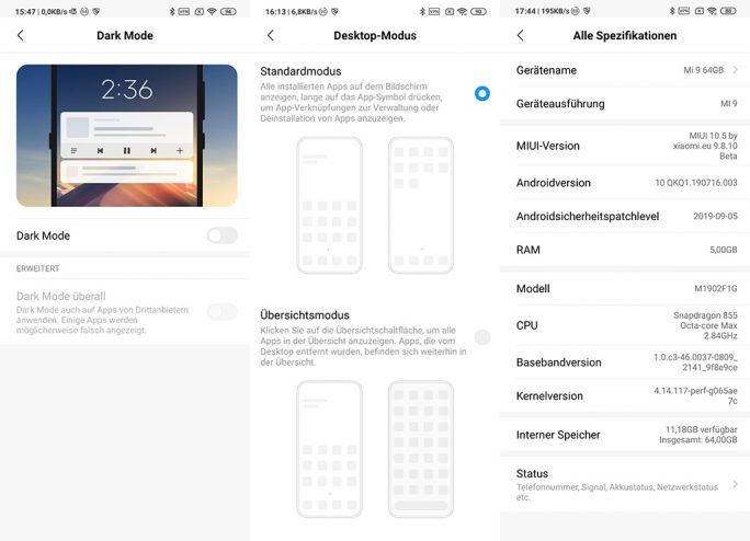 Xiaomi Mi 9 mit Android 10 Q und Sicherheitspatches vom 5.9.2019 (Screenshot: ZDNet.de).