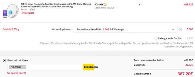 360 S7 aus EU-Warenlager für 367 Euro (Screenshot: ZDNet.de)