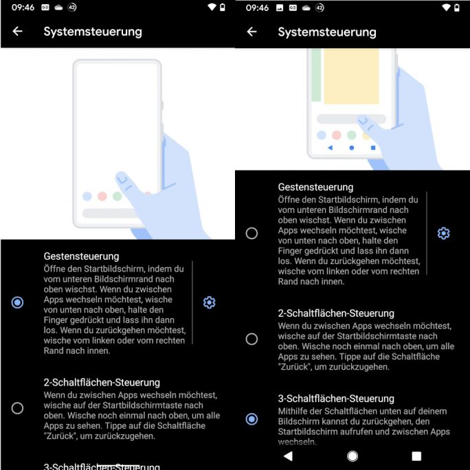 Android 10: Gestensteuerung (Screenshot: ZDNet.de)