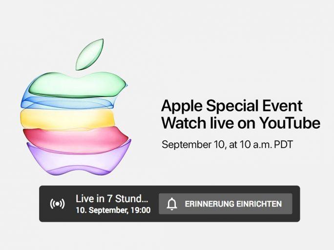 Apple-Vorstellung von iPhone 11 live auf Youtube (Screenshot: ZDNet.de).