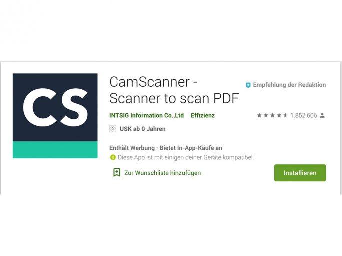 CamScanner wieder im Play Store (Screnshot: ZDNet.de)