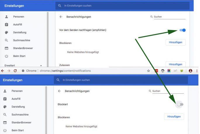 Chrome: Push-Benachrichtigungen ausschalten-deaktivieren (Screenshot: ZDNet.de)