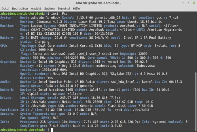 Chuwi Aerobook mit Linux Mint 19.2 (Screenshot: ZDNet.de)