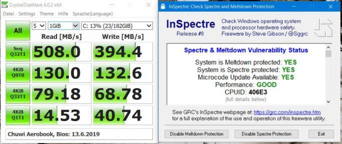 Chuwi Aerobook mit Spectre-Patches, SSD-Performance (Screenshot: ZDNet.de)