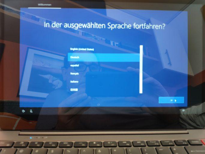 Chuwi Aerobook: Spracheinstellung während des Setups (Bild: ZDNet.de)
