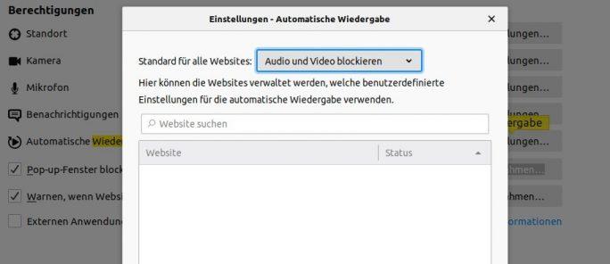 Firefox 69: Audio und Video blockieren (Screenshot: ZDNet.de)