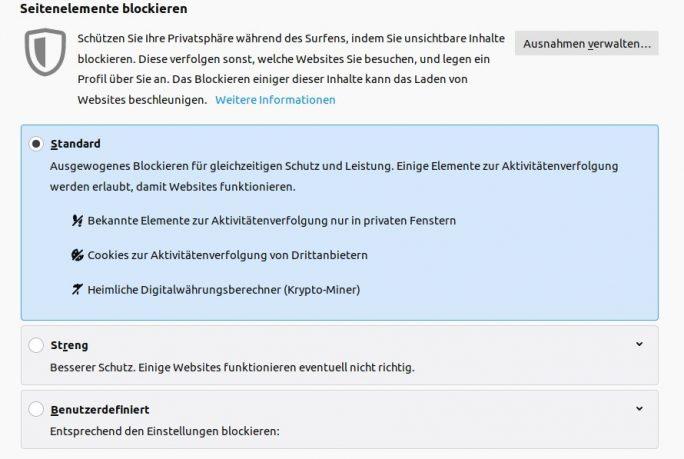 Firefox 69 schützt standardmäßig vor Krypto-Miner (Screenshot: ZDNet.de).