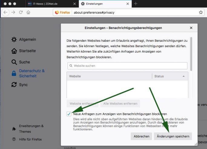 Firefox: Push-Benachrichtigungen komplett ausschalten (Screenshot: ZDNet.de)