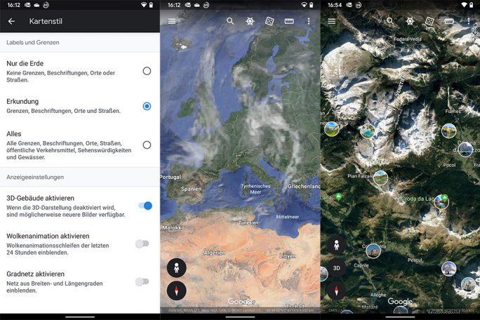 Google Earth mit Wolkenanimation der letzten 24 Stunden und Nutzerfotos (Screenshot: ZDNet.de)