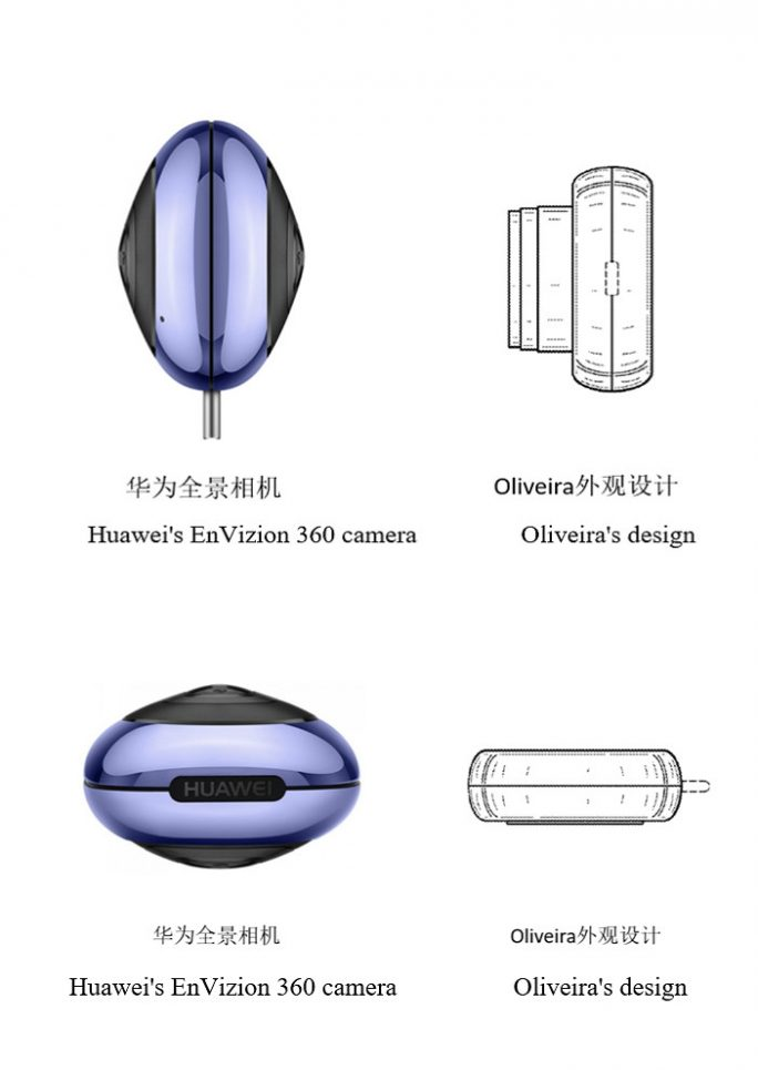 Vergleich der beiden  Geschmacksmuster: Oliviera und Huawei (Bild: Huawei)