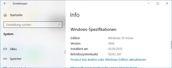 KB4517211 hebt Buildnummer auf 18363.387 (Screenshot: ZDNet.de)
