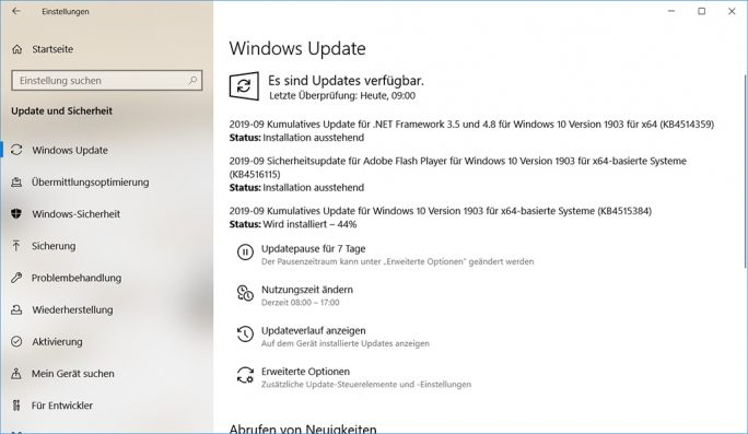 Microsoft: Patch-Tuesday September 2019 (Screenshot: ZDNet.de)