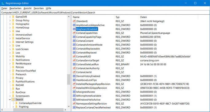 Windows 10: Registry-Key BingEnabled löschen behebt die hohe CPU-Belastung durch Cortana (Bild: ZDNet.de)